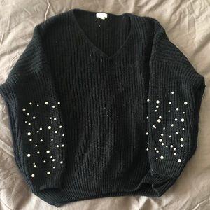 Black Pearl-Sleeved Sweater